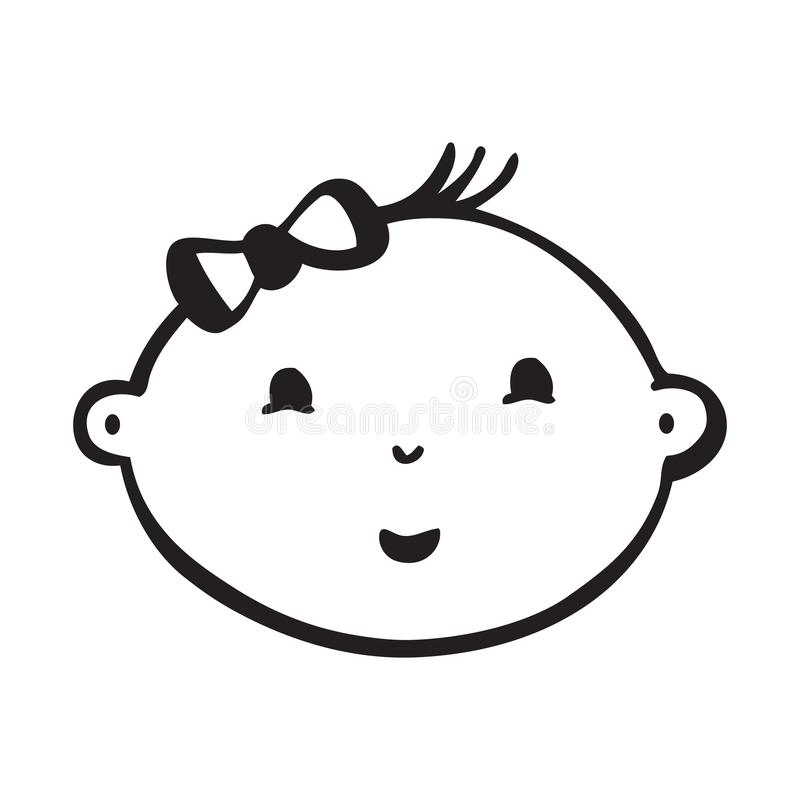 Line vector drawing of smiling baby face vector illustration