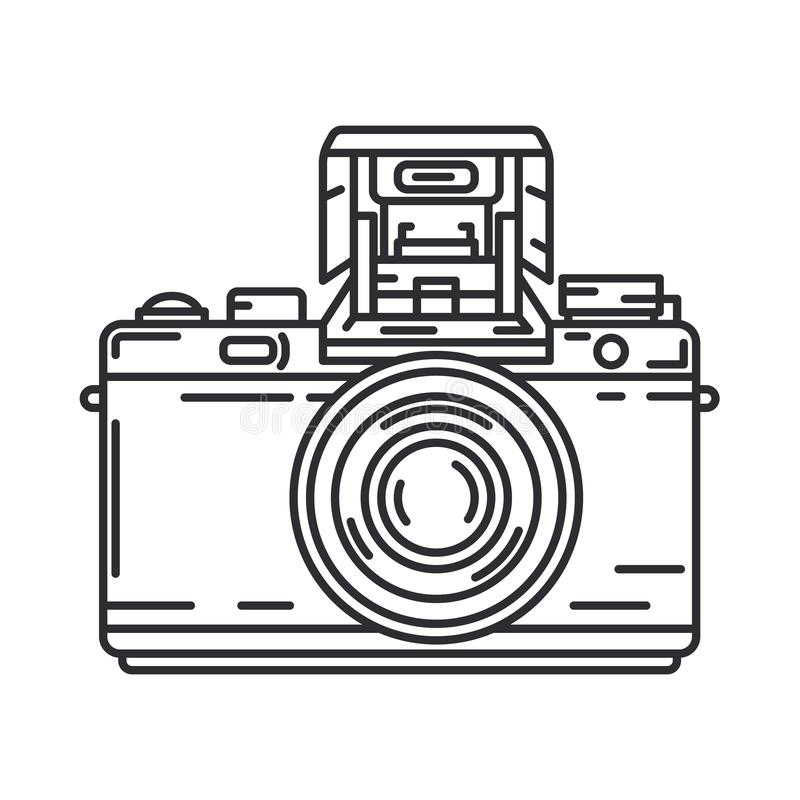 Line vector icon with digital slr professional camera. Photography art. Megapixel photocamera. Cartoon style vector illustration