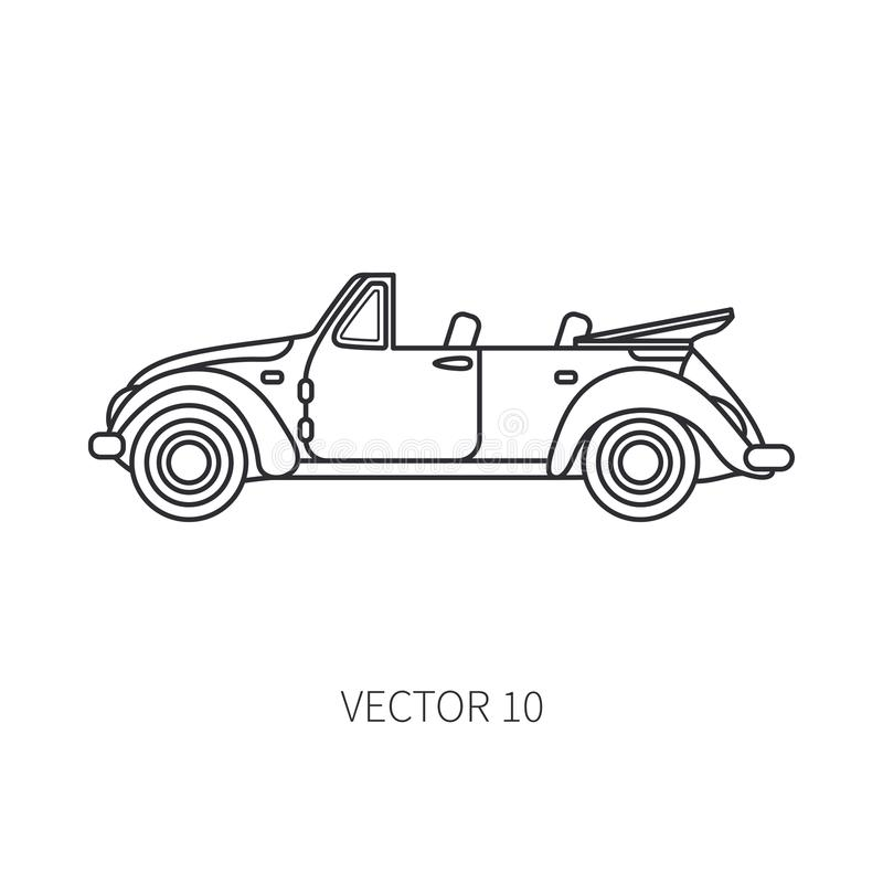 Line vector icon retro tourism cabriolet auto. Classic 1950s style. Nostalgia subcompact antique automobile. Summer royalty free illustration