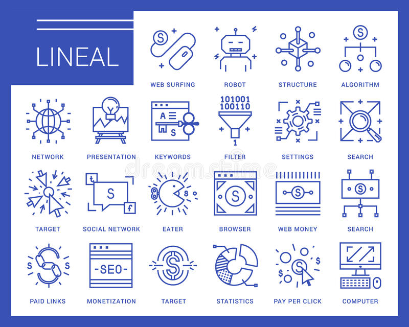 Line vector icons in a modern style. stock illustration