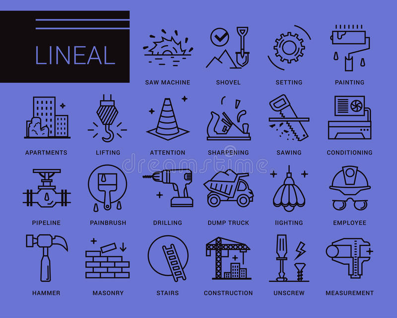 Line vector icons in a modern style. royalty free illustration