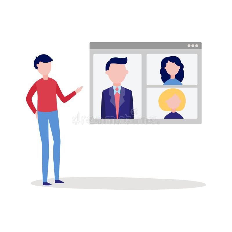 On-line-Videoanrufchatkonferenz mit dem Mann, der Gerätschirm verwendet, um sich mit Gruppe von Personen zu unterhalten stock abbildung