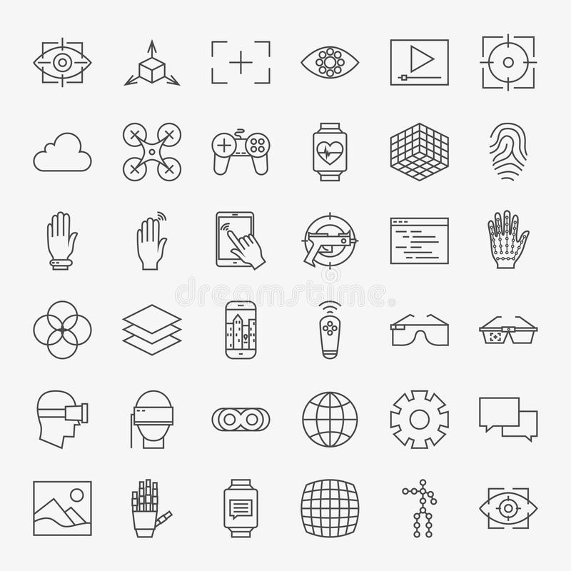 Line Virtual Reality Design Icons Big Set. Vector Set of Modern Thin Line Icons for Innovation and Technology Augmented Reality gadgets vector illustration