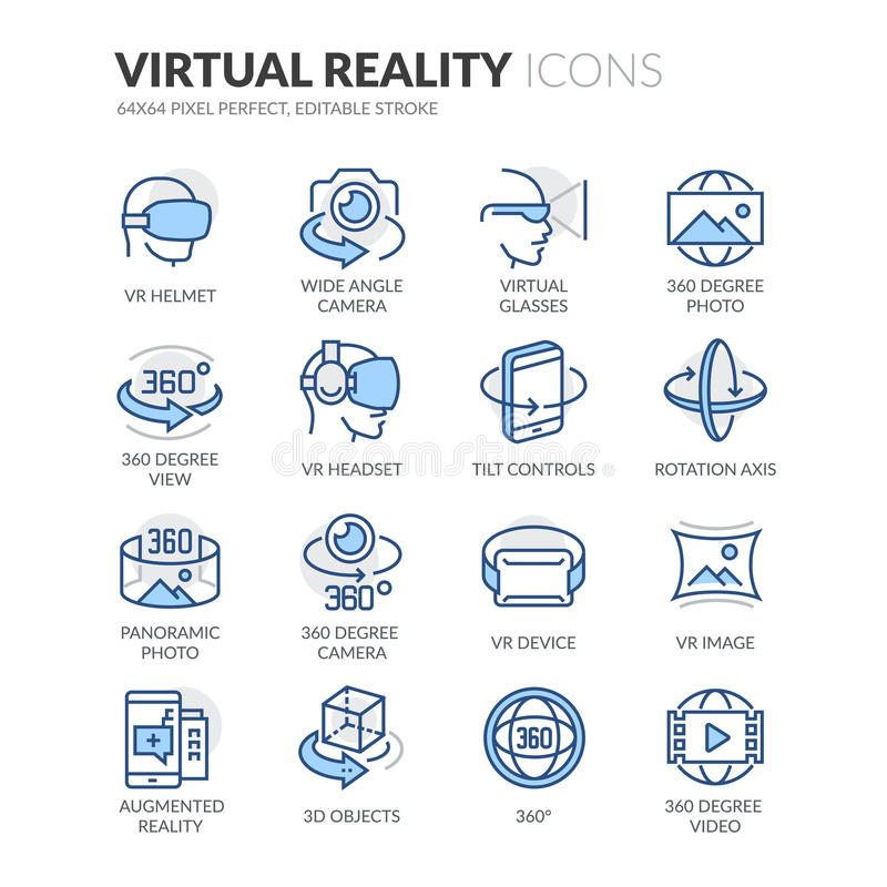 Line Virtual Reality Icons royalty free illustration