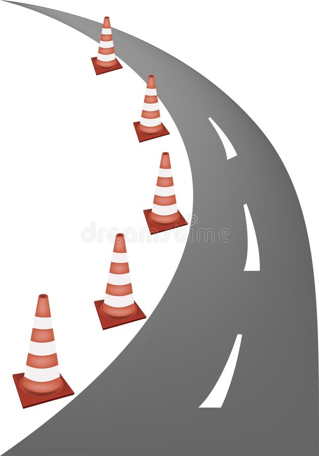 A Line of Warning Traffic Cones on Road. A Row of Orange and White Safety Road Cones or Traffic Cones on A Road for Traffic Redirection or Warning of Hazards or vector illustration