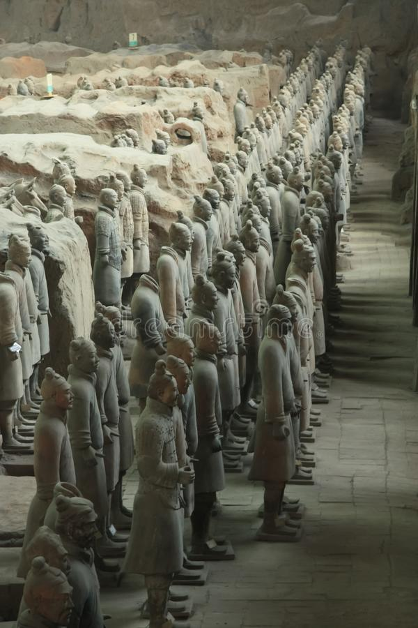 Line of Warriors. China, Xi`an: Archaeological excavations of the clay army of the emperor Qin Shi Huang. The terracotta army is a figure of ancient Chinese stock image