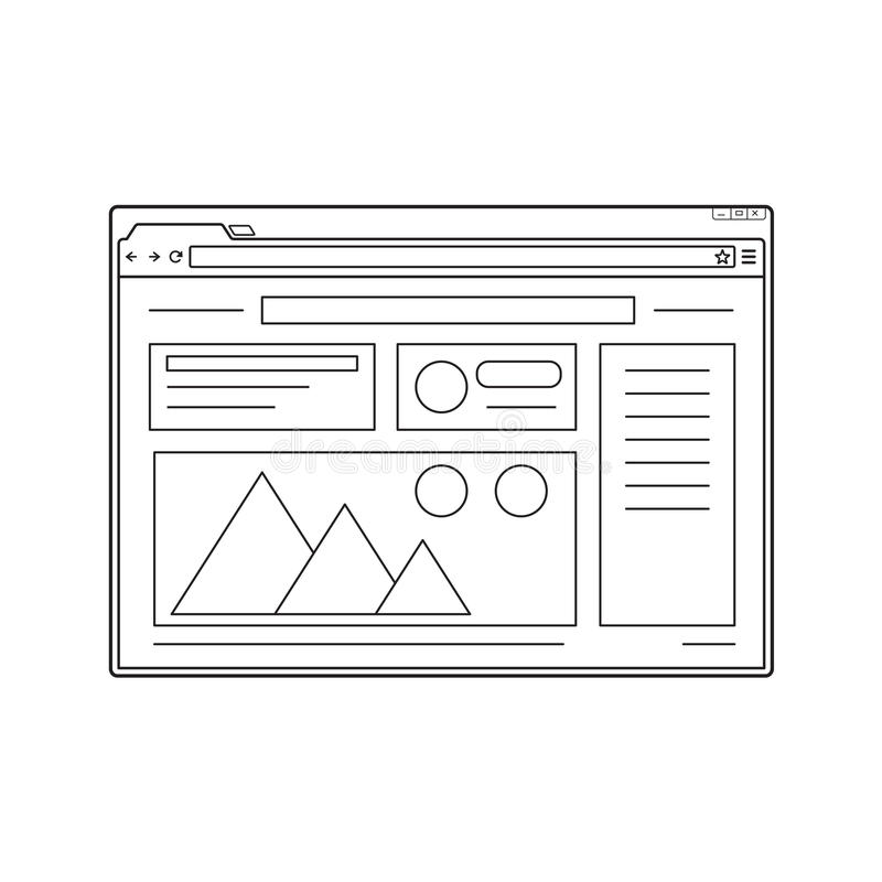 Line web browser window mockup. Website page template. royalty free illustration