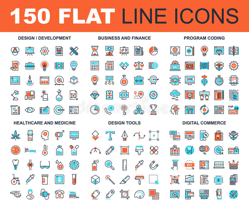 Line Web Icons stock illustration