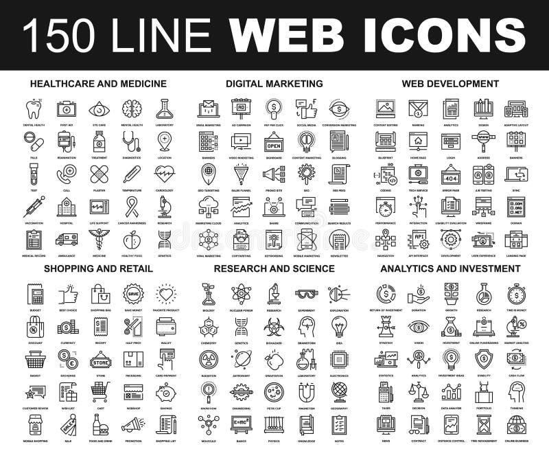 Line Web Icons royalty free illustration