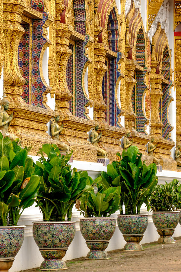 A line of windows and trees in Thai temple royalty free stock images