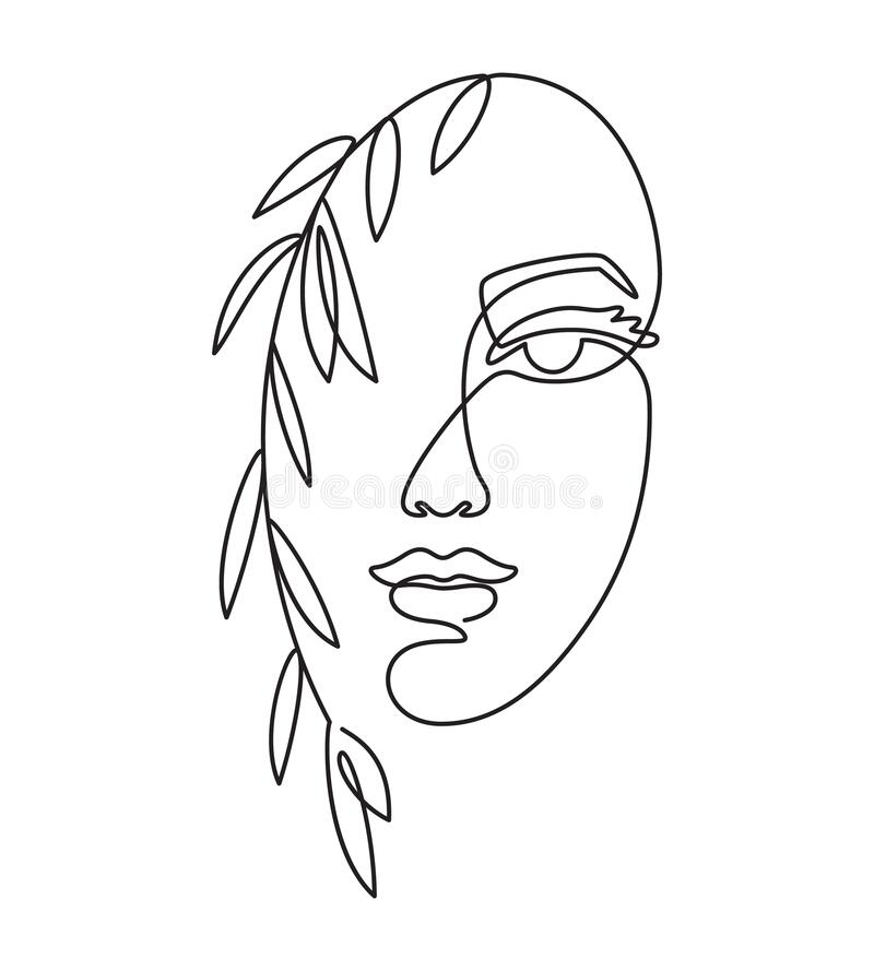 Free Line Woman Face. Female Portrait And Leaves. Minimalist Fashion, Glamour Beauty Salon And Spa Logo, One Continuous Line Royalty Free Stock Image - 186735406