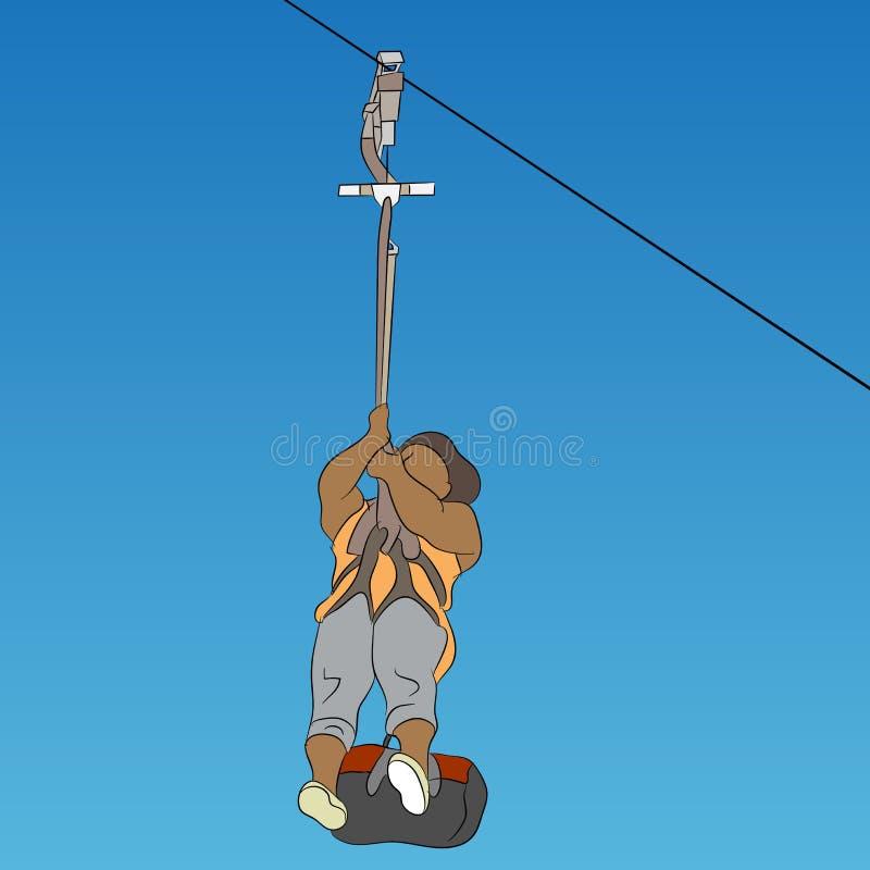 Linea africana femminile cavaliere dello zip royalty illustrazione gratis