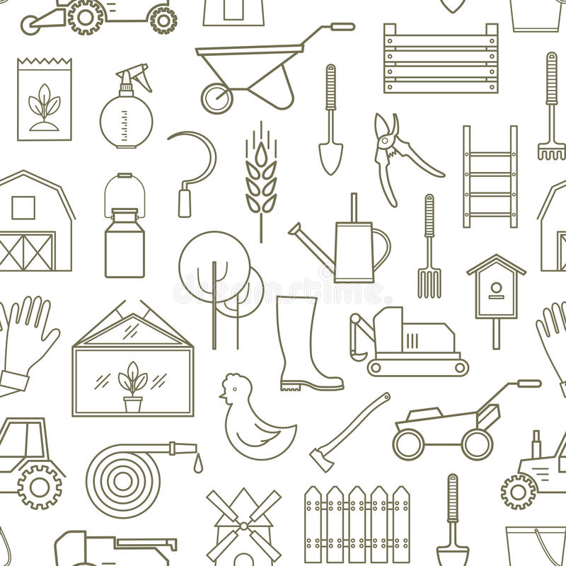 Linea agricoltore del modello, strumenti di giardinaggio illustrazione vettoriale