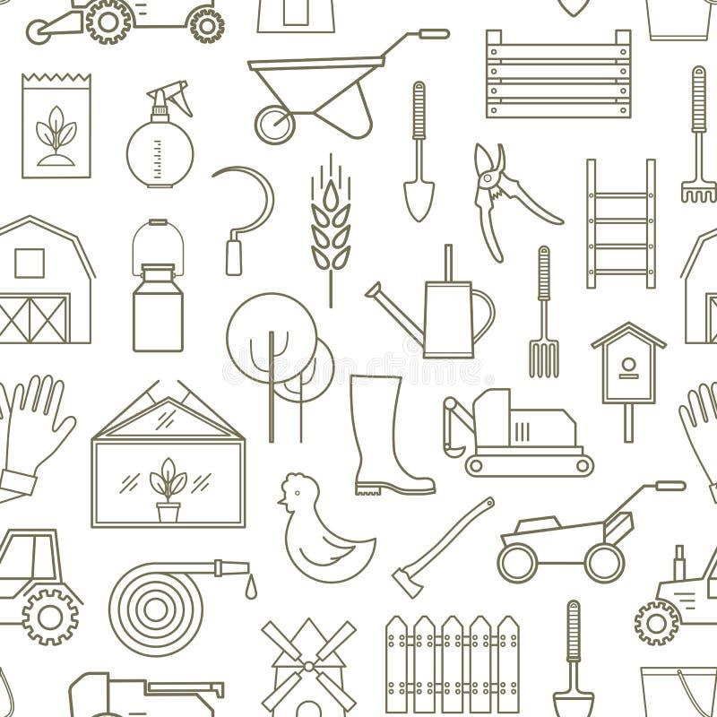 Linea agricoltore del modello, strumenti di giardinaggio illustrazione di stock