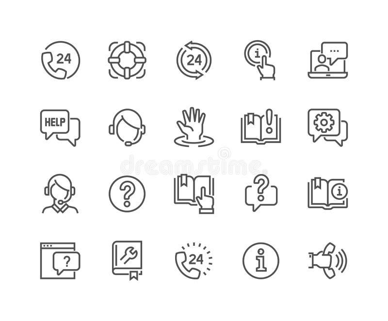 Linea aiuto ed icone di sostegno illustrazione di stock
