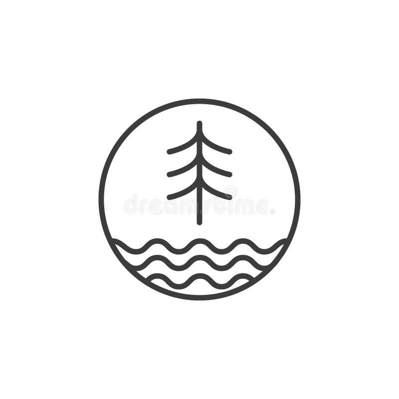 Linea albero dell'abete rosso di arte ed icona delle onde dello stagno nel telaio rotondo illustrazione di stock