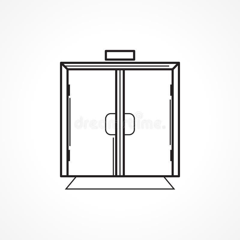Linea all'interno di vetro icona del nero della porta illustrazione vettoriale