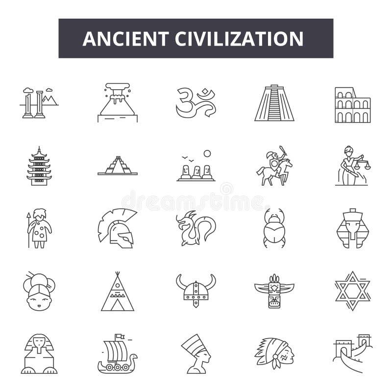 Linea antica icone, segni, insieme di vettore, concetto di civilizzazione dell'illustrazione del profilo royalty illustrazione gratis