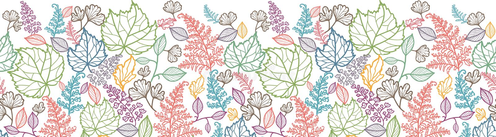 Linea Art Leaves Horizontal Seamless Pattern illustrazione vettoriale
