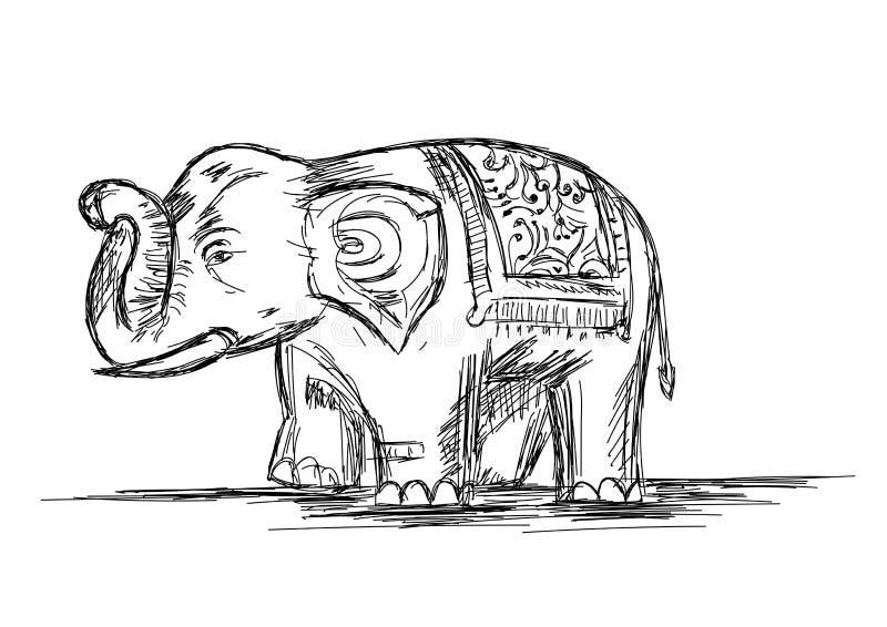 Linea Art Vector Illustration dell'elefante indiano fotografia stock