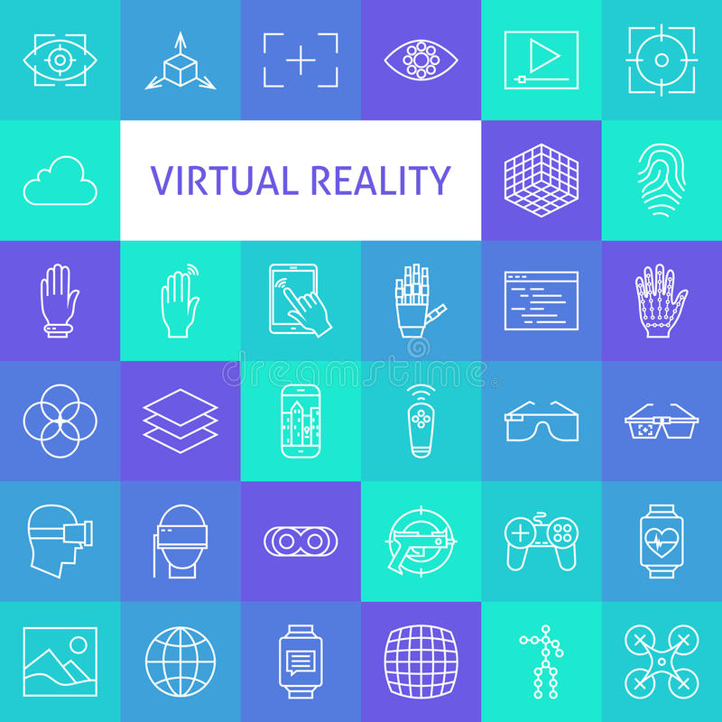Linea Art Virtual Reality Icons Set di vettore royalty illustrazione gratis