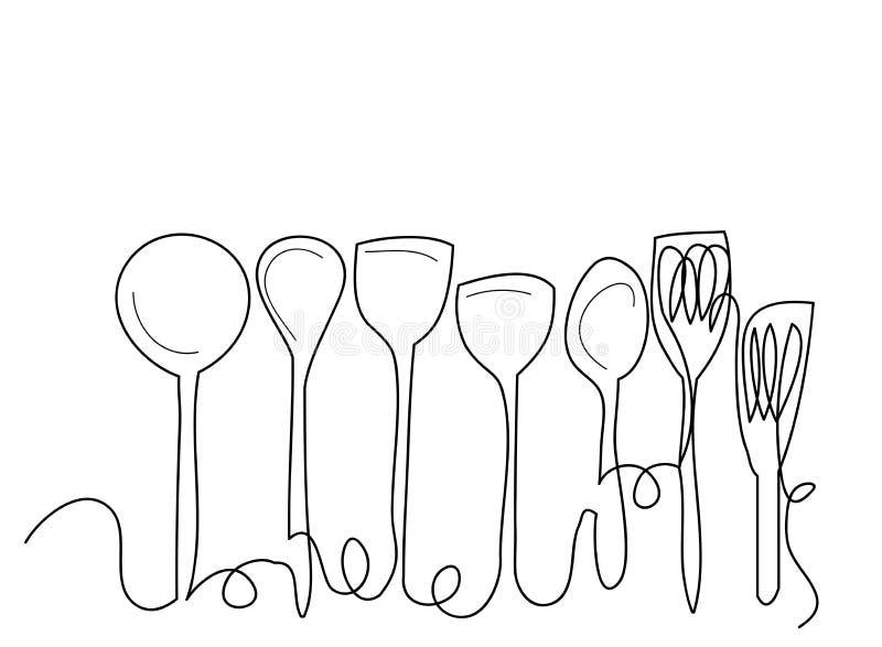 Linea arte continua o un disegno a tratteggio del piatto, del khife e della forcella stile lineare ed illustrazioni disegnate a m royalty illustrazione gratis