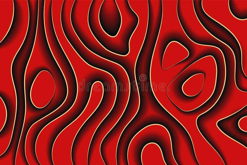 Linea arte creativa Le onde rosso scuro incartano la progettazione astratta di vettore del fondo di stile illustrazione vettoriale