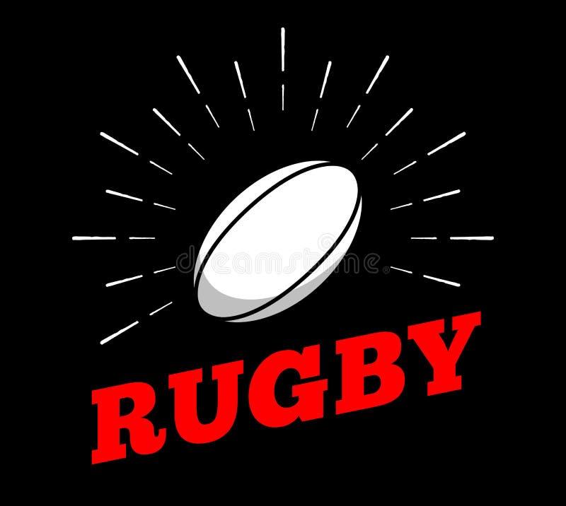 Linea arte d'annata disegnata a mano della stampa del burtst del sole dell'icona di logo della palla di sport di calcio di rugby  illustrazione vettoriale