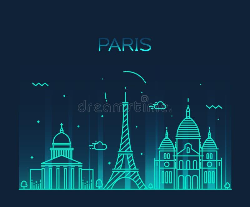 Linea arte d'avanguardia di vettore dell'orizzonte della città di Parigi royalty illustrazione gratis