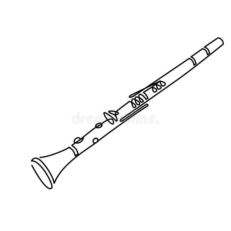 Linea arte del clarinetto che attinge bianco Illustrazione di vettore royalty illustrazione gratis