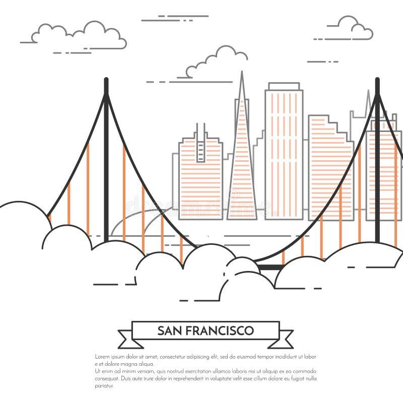 Linea arte del paesaggio della città dell'insegna di San Francisco royalty illustrazione gratis