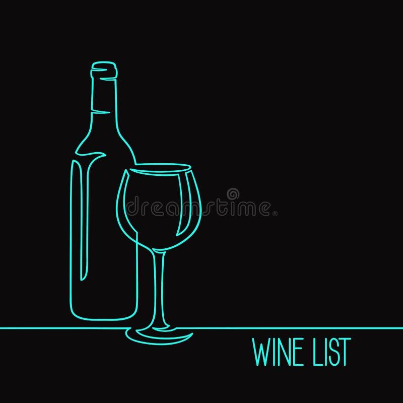 Linea arte del vino uno immagine stock libera da diritti