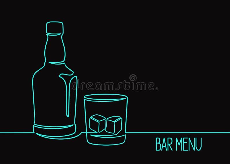 Linea arte del whiskey uno fotografia stock libera da diritti