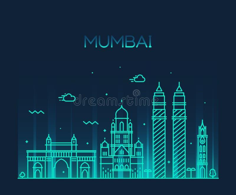 Linea arte dell'illustrazione di vettore dell'orizzonte della città di Mumbai illustrazione vettoriale