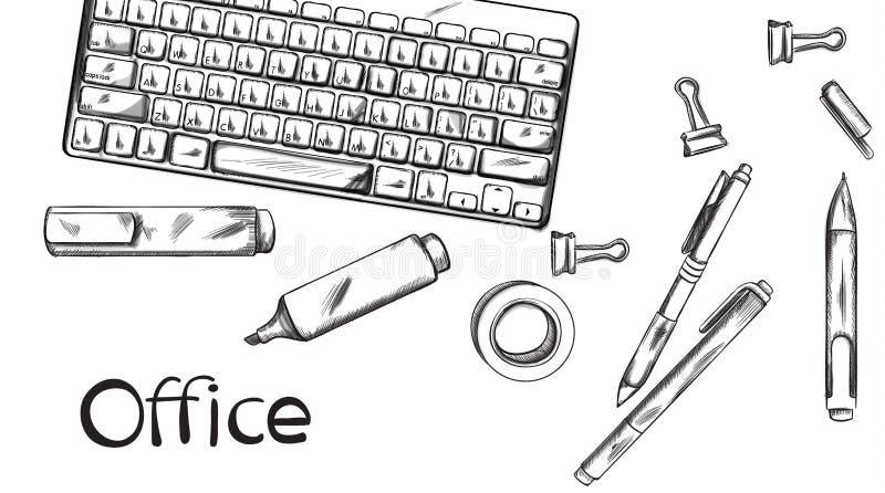 Linea arte dell'insegna di vettore della scrivania Siluette delle penne e della tastiera Manifesti grafici del modello illustrazione vettoriale