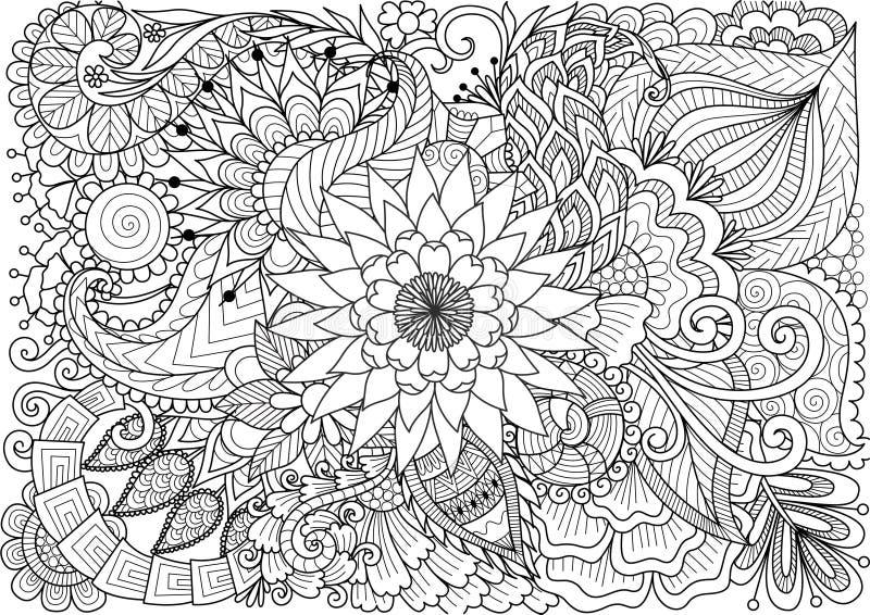 Linea arte di bei fiori per fondo e la pagina del libro da colorare per l'adulto ed i bambini Illustrazione di vettore illustrazione vettoriale