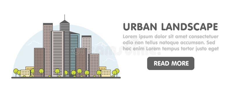 Linea arte di grande fondo moderno della città con i grattacieli e gli alberi Insegna lineare d'avanguardia di web dell'illustraz illustrazione vettoriale