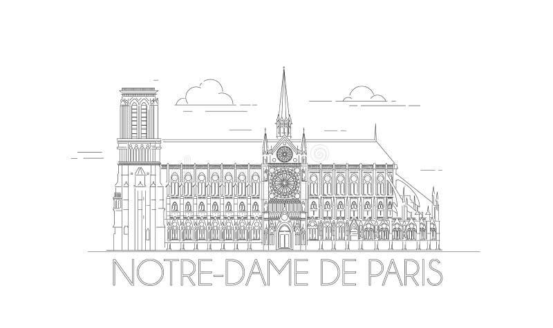 Linea-arte di Minimalistic di Notre-Dame a Parigi, Francia Profilo Notre Dame illustrazione vettoriale