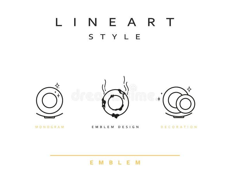 Linea arte di stile dell'icona del piatto illustrazione di stock