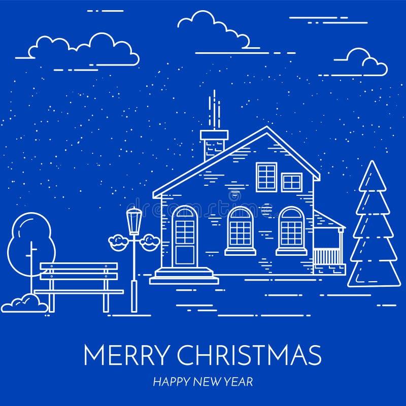 Linea arte piana del paesaggio della via della città del nuovo anno di Natale di inverno royalty illustrazione gratis