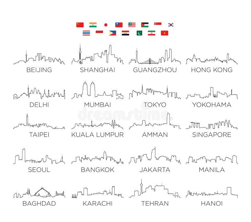 Linea arte, progettazione della città dell'orizzonte dell'Asia dell'illustrazione di vettore illustrazione vettoriale