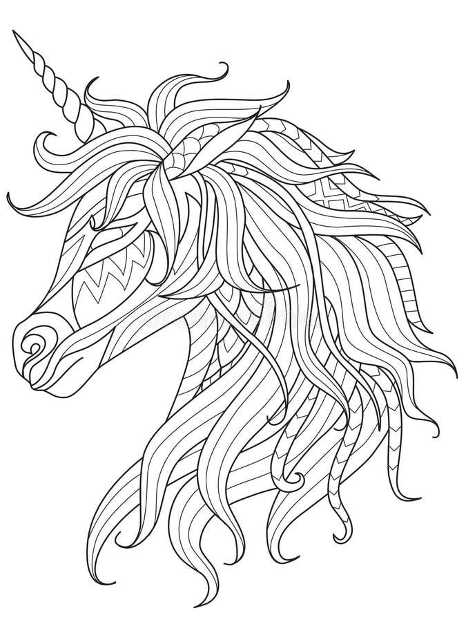 Linea arte semplice di unicorno per l'elemento di progettazione e di libro da colorare sul app Illustrazione di vettore royalty illustrazione gratis