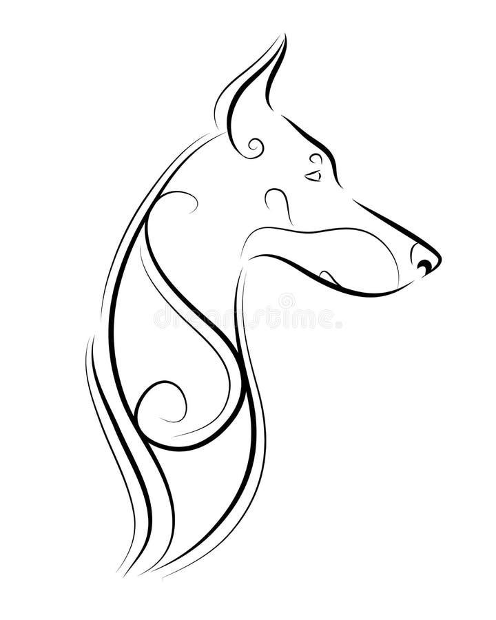 Linea arte, siluetta del pinscher del doberman, tribale Vettore a mano libera illustrazione vettoriale