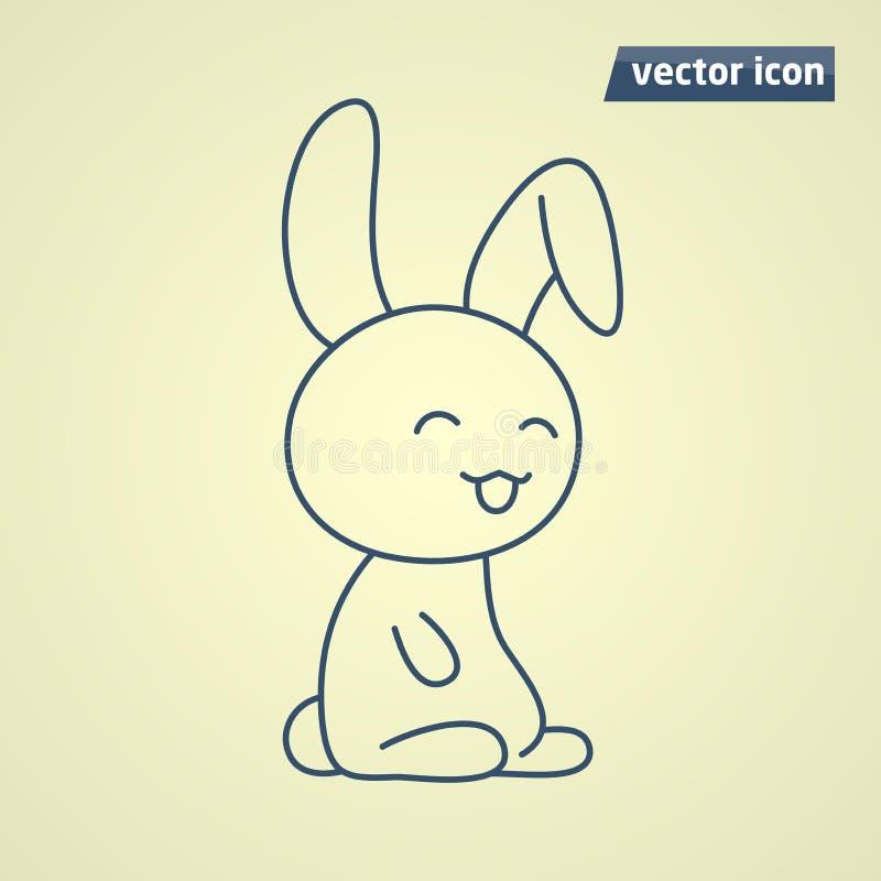 Linea arte sveglia del coniglietto illustrazione di stock