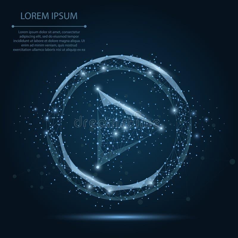 Linea astratta della poltiglia ed icona del gioco blu del punto video su cielo notturno blu scuro con le stelle royalty illustrazione gratis