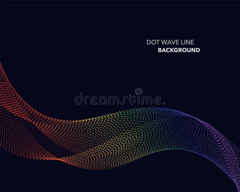 Linea astratta elegante del punto dell'onda di pendenza dell'arcobaleno di spettro di vettore royalty illustrazione gratis