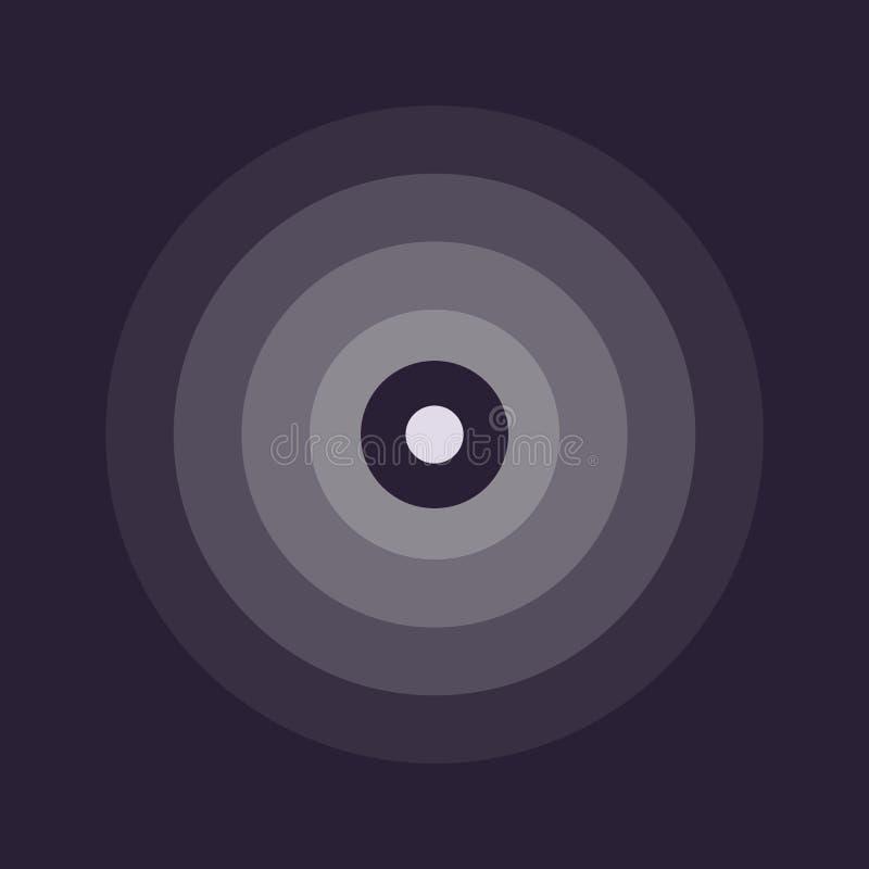 Linea astratta emblema dell'ondulazione Icona del radar, del suono o di vibrazione Progettazione piana Fondo scuro royalty illustrazione gratis