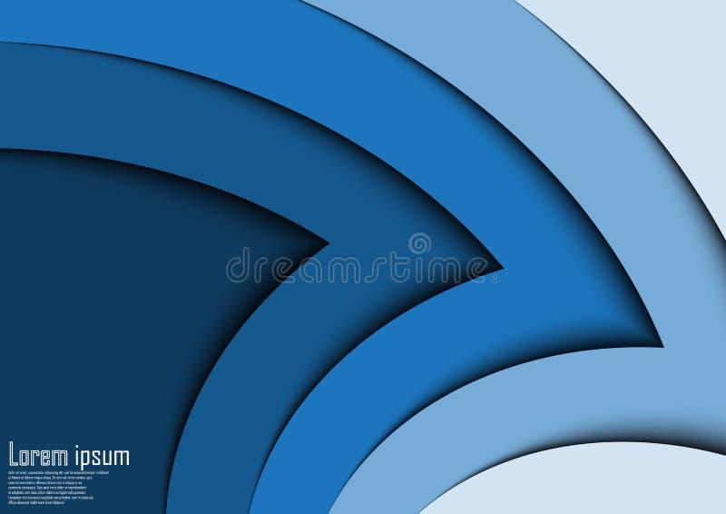 Linea astratta fondo dell'onda della freccia del blu 3d dell'estratto del certificato illustrazione di stock