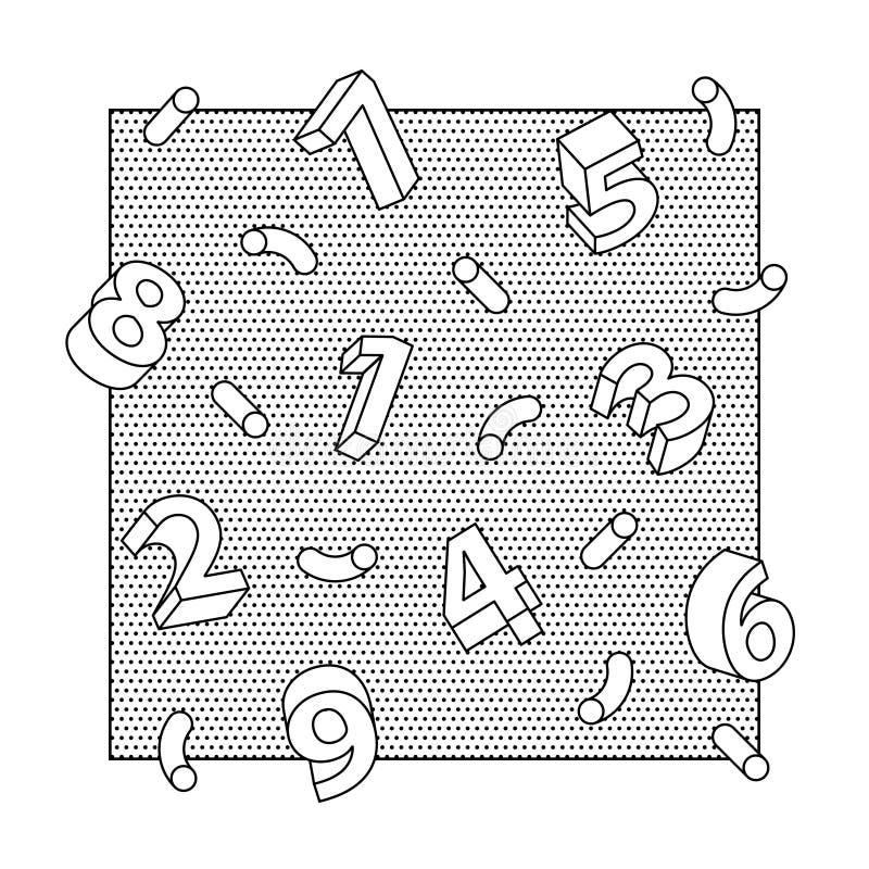 Linea astratta fondo di numeri 3D di arte illustrazione vettoriale