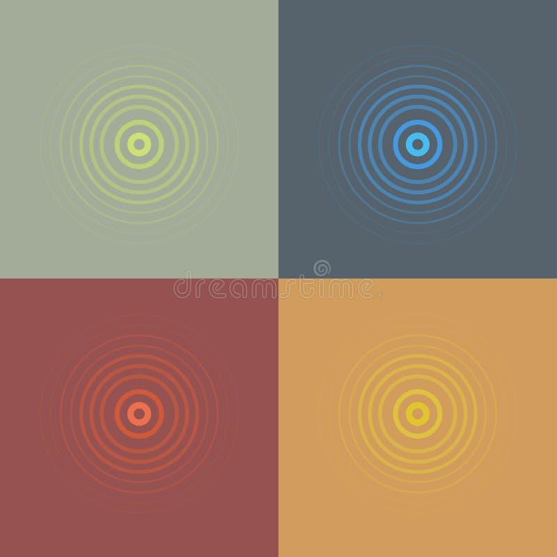Linea astratta insieme dell'emblema dell'ondulazione Icona del radar, del suono o di vibrazione Progettazione piana illustrazione vettoriale